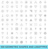 Satz von 100 geometrischen Hippie-Formen Lizenzfreie Stockbilder
