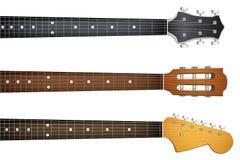 Satz von Gitarrenhalsfretboard und -spindelkasten Stockfoto