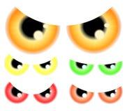 Satz von glücklichem Halloween gespenstisch, furchtsame Augen, Augäpfel, Iris, Schüler Vektorabbildung getrennt auf weißem Hinter Lizenzfreies Stockbild