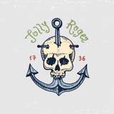 Satz von graviert, Hand gezeichnet, alt, Aufkleber oder Ausweise für Seeräuber, Schädel am Anker Lustiger Roger Piraten Marine un lizenzfreie abbildung