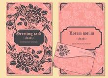 Satz von Grußkarten und -umschlag in einer luxuriösen Weinleseart Stockbilder