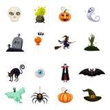 Satz von Halloween-Fest, Sammlung von Attributhalloween-Schädel, Vampir, Hexengroßer kessel, Hexe auf Besen, Schläger, Kürbis vektor abbildung