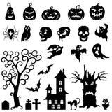 Satz von Halloween-Schattenbild Stockbild