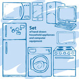 Satz von Hand gezeichnete Haushaltsgeräte Lizenzfreie Stockbilder