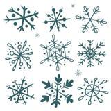 Satz von Hand gezeichnete Schneeflocken Stockfotos