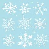 Satz von Hand gezeichnete Schneeflocken Lizenzfreie Stockbilder