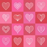 Satz von Hand gezeichnete Symbole umriß aufwändige weiße Herzen im Rosa Stockfotografie