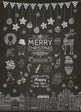 Satz von Hand gezeichnete umrissene Weihnachtsgekritzel-Ikonen Lizenzfreie Stockfotos