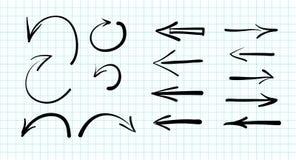 Satz von Hand gezeichnete Vektorpfeilgekritzel Lizenzfreie Stockfotos