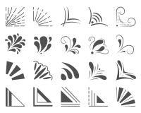 Satz von 20 Hand gezeichneten Ecken und von Gestaltungselementen Hand gezeichneter Eckensatz Element für Design Stockfotografie