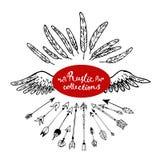 Satz von Hand gezeichneten Pfeilen und von Feder, Flügel Rustikale dekorative Pfeile Lizenzfreies Stockfoto