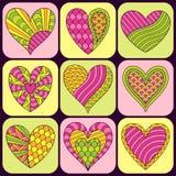 Satz von Hand gezeichneten rosa H der Gekritzel-Symbol-aufwändiges Grünes, Gelbes und Lizenzfreie Stockfotografie