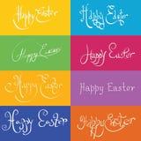 Satz von Hand gezeichneten typograhy fröhlichen Ostern Lizenzfreie Stockfotografie
