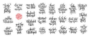 Satz von 25 Handbeschriftungs-Weihnachtszitaten entwerfen Lizenzfreie Stockfotos