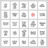 Satz von 25 Handbeschriftungs-Weihnachtszitaten entwerfen zu Grußauto Lizenzfreie Stockfotos