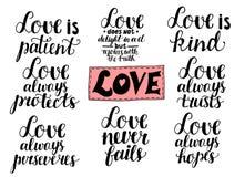 Satz von 8 Handbeschriftungszitaten über Liebe von den Korinthern vektor abbildung