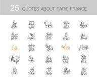 Satz von 25 Handbeschriftungszitaten über Paris Frankreich Stockfotos