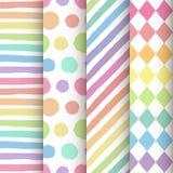 Satz von 4 handgemalten geometrischen nahtlosen Mustern Lizenzfreie Stockbilder