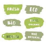 Satz von handgeschriebenem organischem, Bio, eco Beschriftung Auch im corel abgehobenen Betrag Lizenzfreie Stockfotos