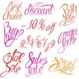 Satz von Handschriftliche Wörter Kauf jetzt! , Beste Wahl, d Stockbild