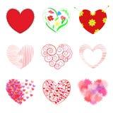 Satz von 9 Herzen: schließt genähtes Herz, Verzierung in der Form ein Lizenzfreie Stockbilder