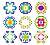 Satz von 9 Hexagonsternikonen Stockfotos