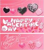 Satz von 3 horizontalen Fahnen Glücklicher Valentinsgruß `s Tag Stockbild