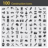 Satz von hundert Bauikonen Lizenzfreie Stockbilder
