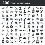 Satz von hundert Bauikonen Stockbilder