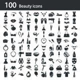Satz von hundert Schönheitsikonen Stockfotografie