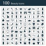 Satz von hundert Schönheitsikonen Stockbilder