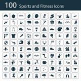 Satz von hundert Sportikonen auf dem Hintergrund Stockbilder