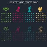 Satz von hundert vollen und dünnen Sportikonen auf dem Hintergrund Stockbilder