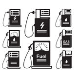 Satz-von-Ikone-Brennstoffaufnahme-Auto-Diesel-Gas Lizenzfreies Stockfoto