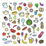 Satz von 55 Ikonen auf dem Thema des Lebensmittels, der verschiedenen Teller und der Küchen Lizenzfreie Stockfotografie