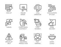 Satz von 12 Ikonen in der linearen Art des Geschäfts, der on-line-Bestellungen und der Zahlungen, schnelle Lieferung, hohe Kunden Lizenzfreie Stockbilder