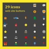 Satz von 29 Ikonen für Websiteknöpfe Lizenzfreie Stockfotos
