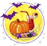 Satz von Ikonen, von Cocktails und von Kürbis für Halloween Stockfotografie