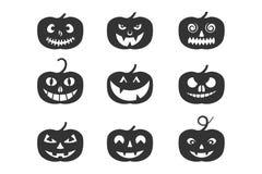 Satz von Kürbis-Halloween-Logo, Zeichen, Symbol Schattenbilddesign Stockfotografie