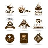 Satz von Kaffeeausweisen und -ikone stock abbildung