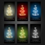 Satz von 6 Karten der frohen Weihnachten stock abbildung