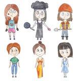 Satz von kleine Mädchen in den verschiedenen Bildern Stockbild