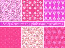 Satz von 6 kreativ und von rosa nahtlosen Mustern stock abbildung