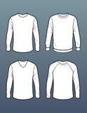Satz von 4 langärmligen T-Shirt Schablonen Lizenzfreies Stockbild