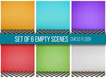 Satz von 6 leeren Szenen, Schachboden Lizenzfreie Stockfotografie