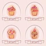 Satz von Logos oder von Emblem der kleinen Kuchen für Bäckerei stock abbildung