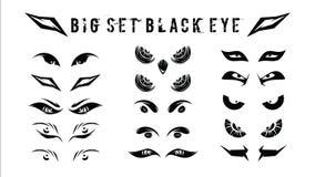 Satz von lustigem, von Stammes- und böse Blicke im dunklen einfachen - vector Illustration lizenzfreie stockbilder
