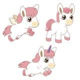 Satz von magischen Pferden, von Einhörnern und von Pegasus Karikaturtiervektor Stockbilder