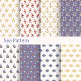 Satz von Meer und nahtlose nautischmuster für den Druck auf Gewebe und Papier Lizenzfreie Stockfotos