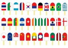 Satz von mehreren Flaggen-Eiscreme Lizenzfreie Stockfotografie